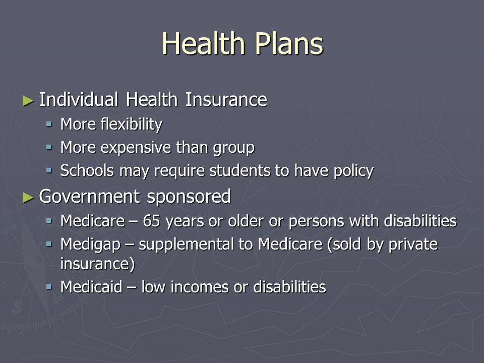Health Plans Individual Health Insurance Individual Health Insurance More flexibility More flexibility More expensive than group More expensive than g