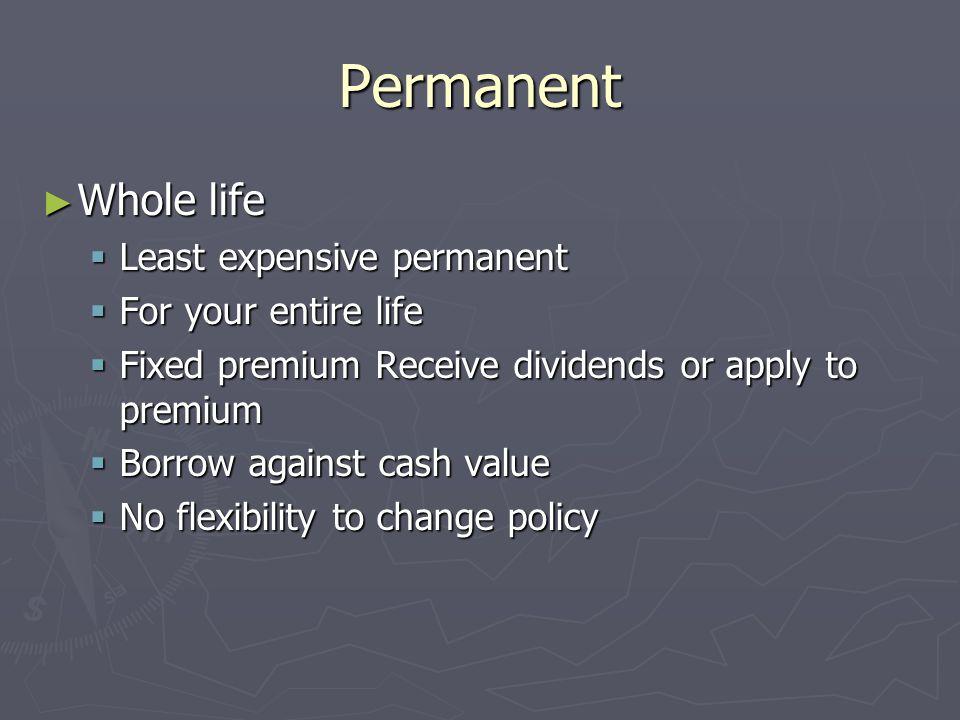 Permanent Whole life Whole life Least expensive permanent Least expensive permanent For your entire life For your entire life Fixed premium Receive di