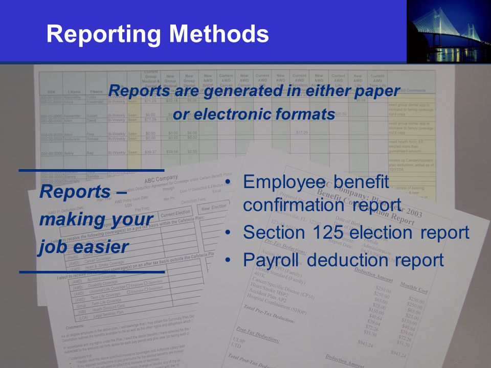 22 Reporting Methods Reports are generated in either paper or electronic formats Employee benefit confirmation report Section 125 election report Payr