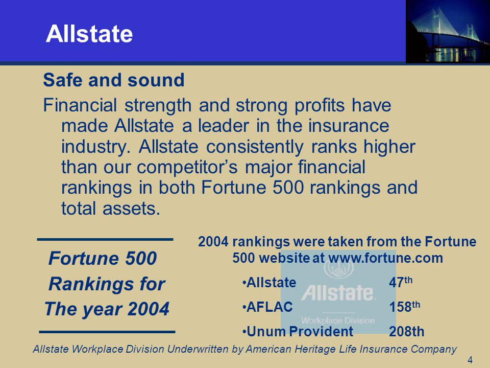 4 Allstate Safe and sound Financial strength and strong profits have made Allstate a leader in the insurance industry.