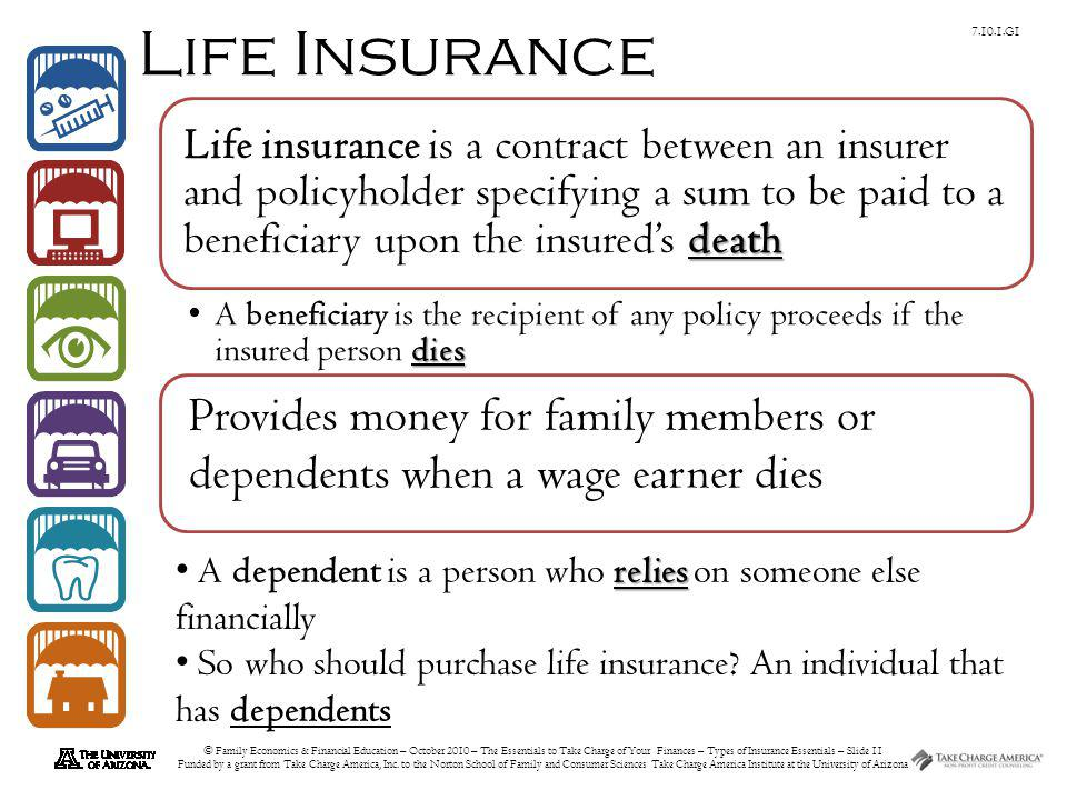 © Family Economics & Financial Education – October 2010 – The Essentials to Take Charge of Your Finances – Types of Insurance Essentials – Slide 11 Fu