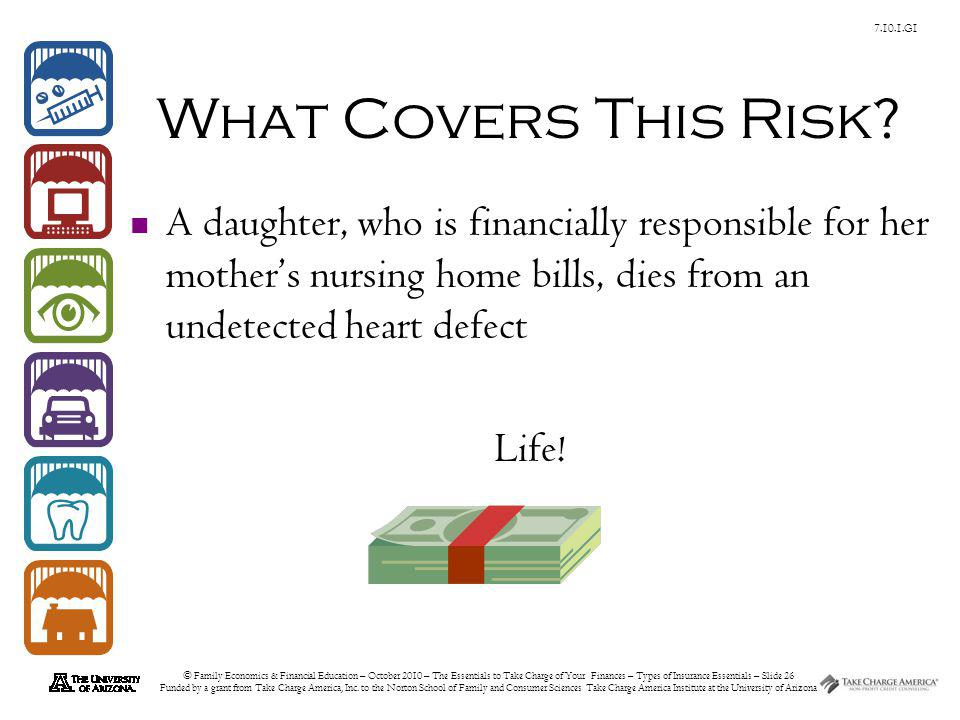 © Family Economics & Financial Education – October 2010 – The Essentials to Take Charge of Your Finances – Types of Insurance Essentials – Slide 26 Fu