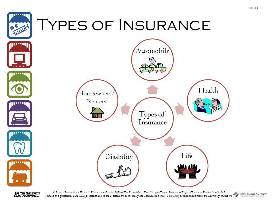 © Family Economics & Financial Education – October 2010 – The Essentials to Take Charge of Your Finances – Types of Insurance Essentials – Slide 6 Funded by a grant from Take Charge America, Inc.