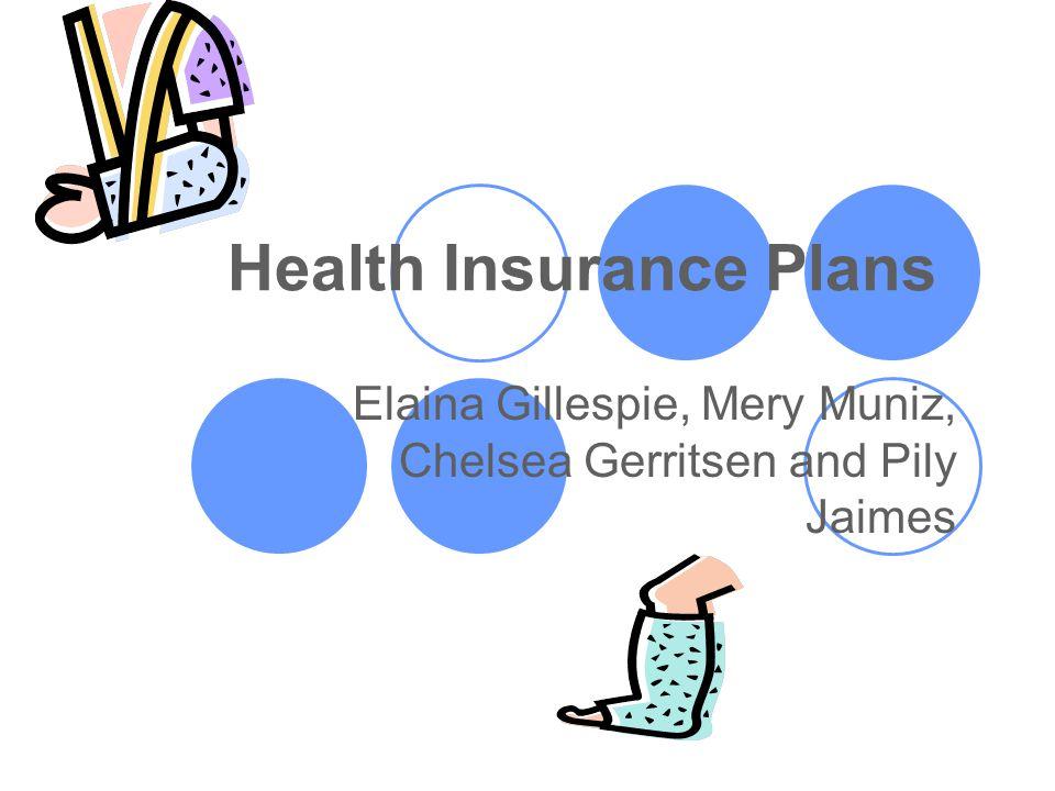 Health Insurance Plans Elaina Gillespie, Mery Muniz, Chelsea Gerritsen and Pily Jaimes