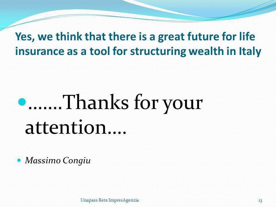 Yes, we think that there is a great future for life insurance as a tool for structuring wealth in Italy …….Thanks for your attention….
