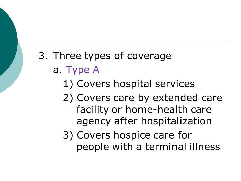 3.Three types of coverage a. Type A 1) Covers hospital services 2) Covers care by extended care facility or home-health care agency after hospitalizat