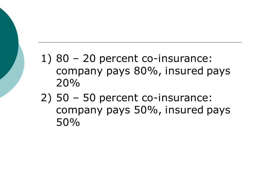 1)80 – 20 percent co-insurance: company pays 80%, insured pays 20% 2)50 – 50 percent co-insurance: company pays 50%, insured pays 50%