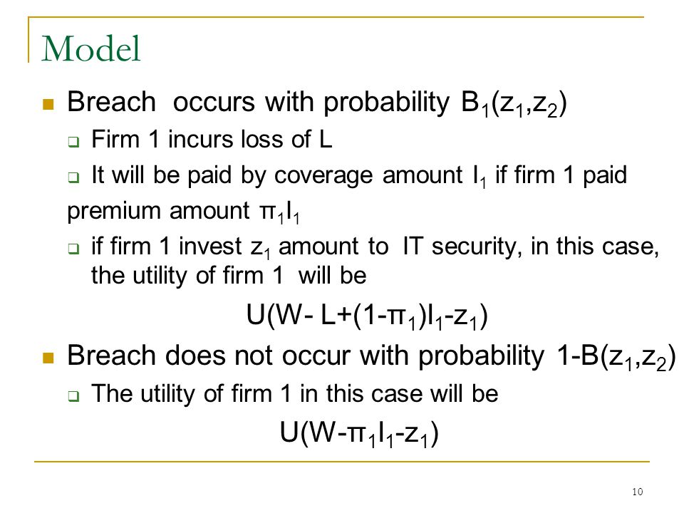 10 Model Breach occurs with probability B 1 (z 1,z 2 ) Firm 1 incurs loss of L It will be paid by coverage amount I 1 if firm 1 paid premium amount π 1 I 1 if firm 1 invest z 1 amount to IT security, in this case, the utility of firm 1 will be U(W- L+(1-π 1 )I 1 -z 1 ) Breach does not occur with probability 1-B(z 1,z 2 ) The utility of firm 1 in this case will be U(W-π 1 I 1 -z 1 )