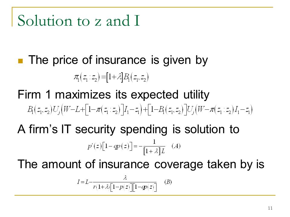 11 Solution to z and I The price of insurance is given by Firm 1 maximizes its expected utility A firms IT security spending is solution to The amount of insurance coverage taken by is