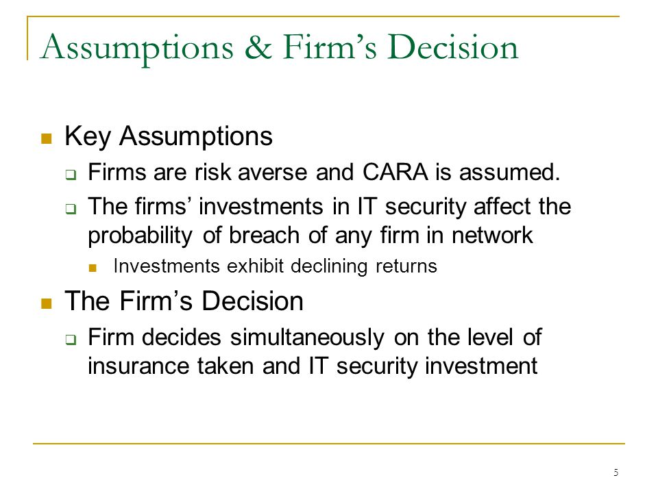 5 Assumptions & Firms Decision Key Assumptions Firms are risk averse and CARA is assumed.