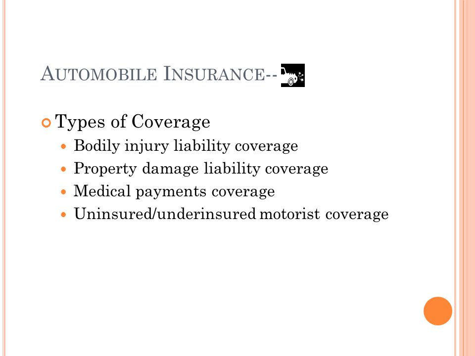 A UTOMOBILE I NSURANCE -- Types of Coverage Bodily injury liability coverage Property damage liability coverage Medical payments coverage Uninsured/underinsured motorist coverage