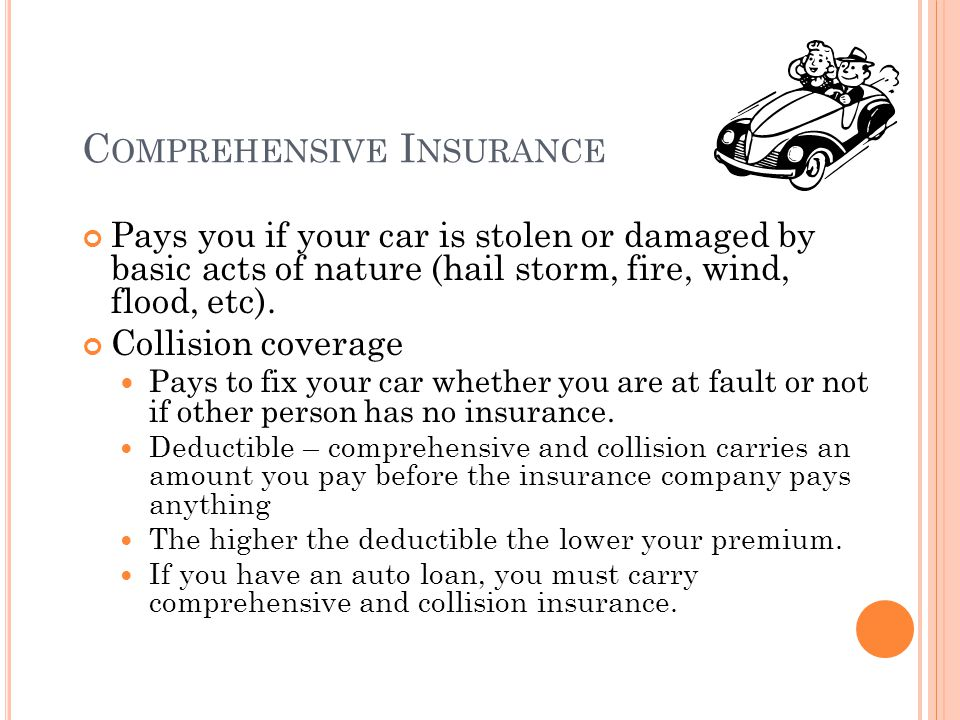 C OMPREHENSIVE I NSURANCE Pays you if your car is stolen or damaged by basic acts of nature (hail storm, fire, wind, flood, etc).