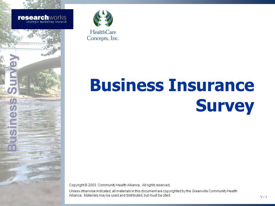 Business Survey V - 1 Business Insurance Survey Copyright © 2003 Community Health Alliance. All rights reserved. Unless otherwise indicated, all mater
