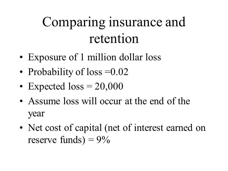 Comparing insurance and retention Exposure of 1 million dollar loss Probability of loss =0.02 Expected loss = 20,000 Assume loss will occur at the end of the year Net cost of capital (net of interest earned on reserve funds) = 9%