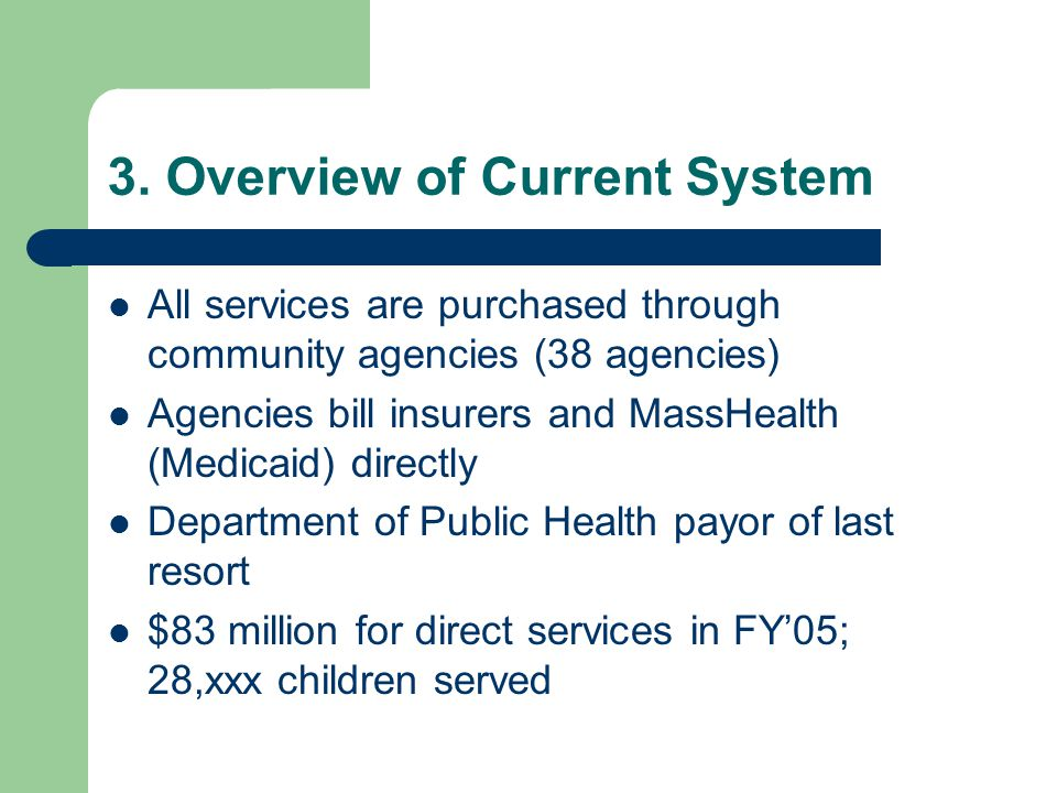 3. Overview of Current System All services are purchased through community agencies (38 agencies) Agencies bill insurers and MassHealth (Medicaid) dir