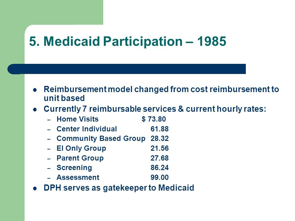 5. Medicaid Participation – 1985 Reimbursement model changed from cost reimbursement to unit based Currently 7 reimbursable services & current hourly