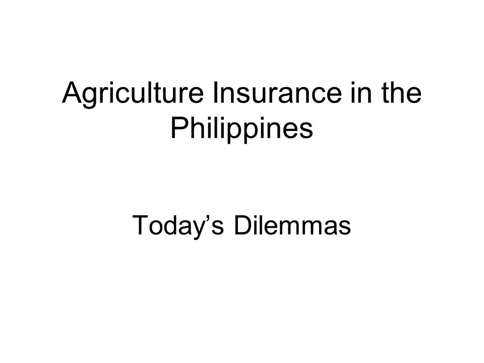 Agriculture Insurance in the Philippines Todays Dilemmas
