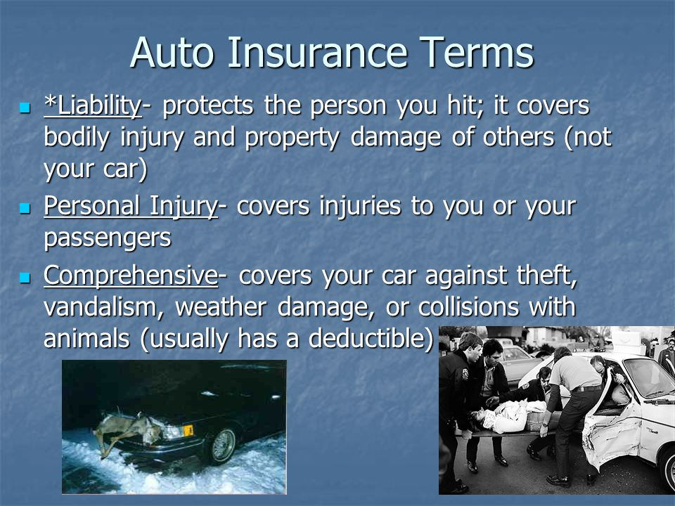Auto Insurance Terms *Liability- protects the person you hit; it covers bodily injury and property damage of others (not your car) *Liability- protects the person you hit; it covers bodily injury and property damage of others (not your car) Personal Injury- covers injuries to you or your passengers Personal Injury- covers injuries to you or your passengers Comprehensive- covers your car against theft, vandalism, weather damage, or collisions with animals (usually has a deductible) Comprehensive- covers your car against theft, vandalism, weather damage, or collisions with animals (usually has a deductible)