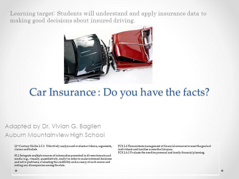 Car Insurance : Do you have the facts? Adapted by Dr. Vivian G. Baglien Auburn Mountainview High School Learning target: Students will understand and