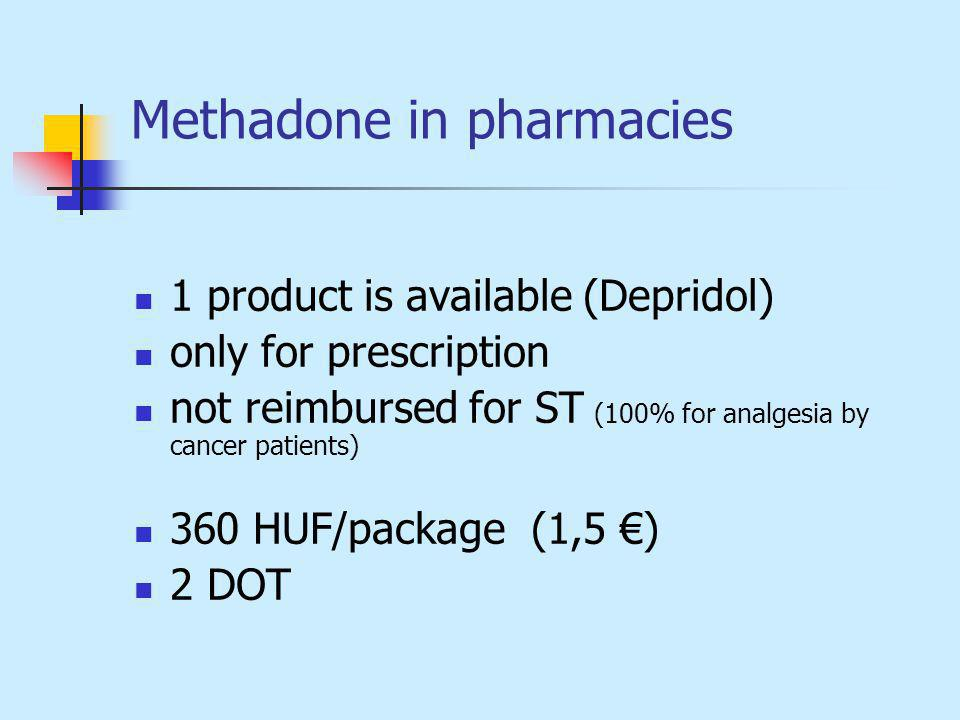 Methadone in pharmacies 1 product is available (Depridol) only for prescription not reimbursed for ST (100% for analgesia by cancer patients) 360 HUF/package (1,5 ) 2 DOT