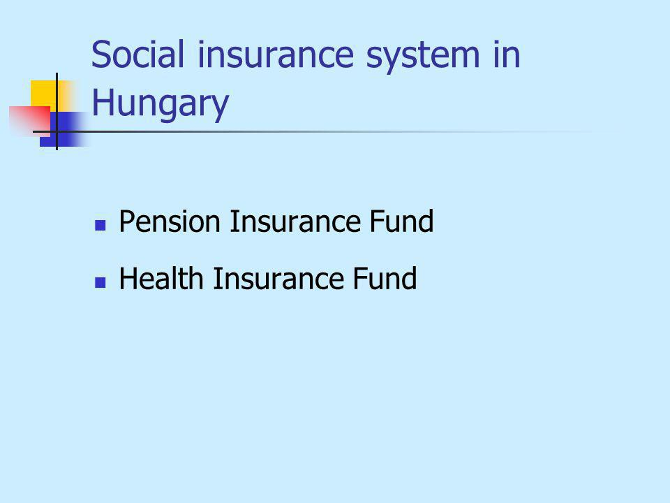 Social insurance system in Hungary Pension Insurance Fund Health Insurance Fund
