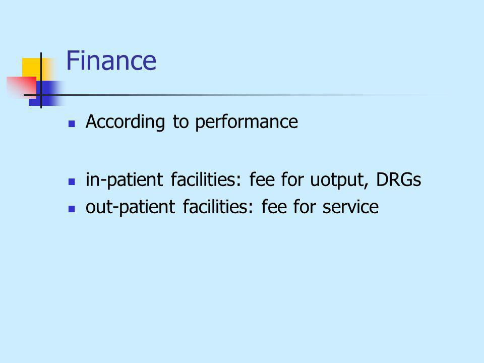 Finance According to performance in-patient facilities: fee for uotput, DRGs out-patient facilities: fee for service