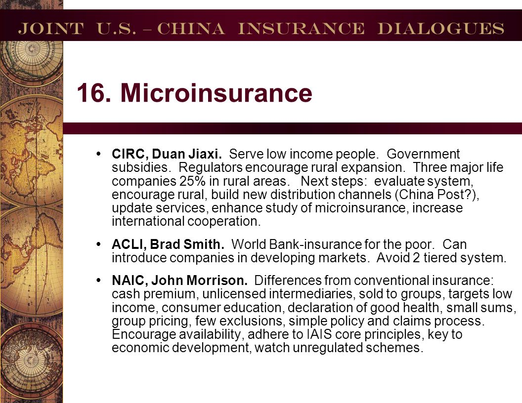 Joint U.S.– China Insurance Dialogues 17. Agriculture Insurance.
