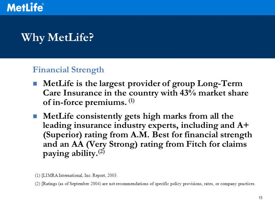 15 Why MetLife? Financial Strength MetLife is the largest provider of group Long-Term Care Insurance in the country with 43% market share of in-force