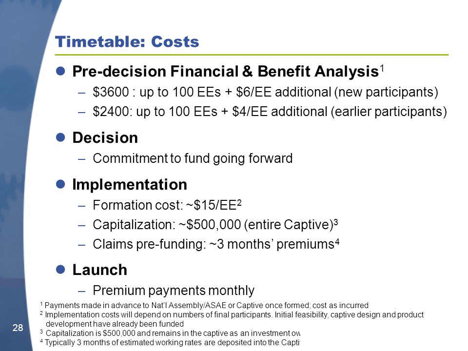 Timetable: Costs Pre-decision Financial & Benefit Analysis 1 –$3600 : up to 100 EEs + $6/EE additional (new participants) –$2400: up to 100 EEs + $4/EE additional (earlier participants) Decision –Commitment to fund going forward Implementation –Formation cost: ~$15/EE 2 –Capitalization: ~$500,000 (entire Captive) 3 –Claims pre-funding: ~3 months premiums 4 Launch –Premium payments monthly 28 1 Payments made in advance to Natl Assembly/ASAE or Captive once formed; cost as incurred 2 Implementation costs will depend on numbers of final participants.