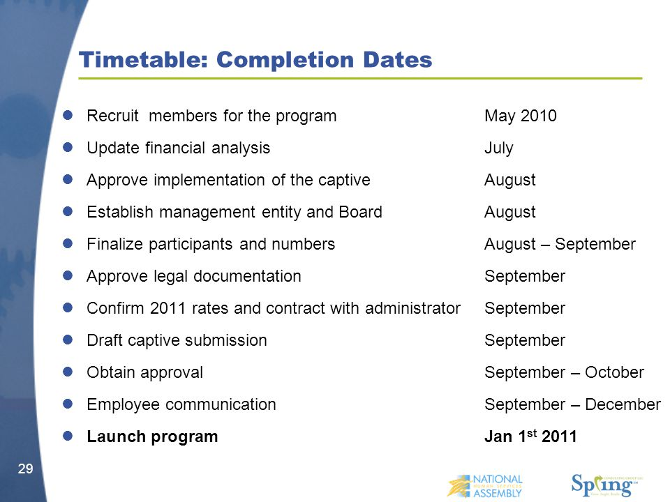 Timetable: Completion Dates Recruit members for the programMay 2010 Update financial analysisJuly Approve implementation of the captiveAugust Establish management entity and BoardAugust Finalize participants and numbersAugust – September Approve legal documentationSeptember Confirm 2011 rates and contract with administratorSeptember Draft captive submissionSeptember Obtain approvalSeptember – October Employee communicationSeptember – December Launch programJan 1 st 2011 29