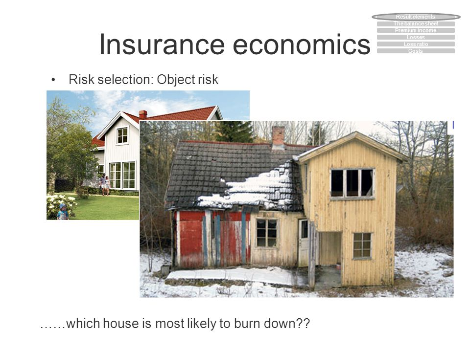 Insurance economics Risk selection: Object risk ……which house is most likely to burn down?? The balance sheet Premium Income Losses Loss ratio Costs R