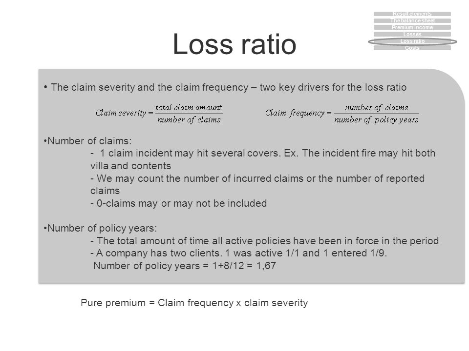 Loss ratio The claim severity and the claim frequency – two key drivers for the loss ratio Number of claims: - 1 claim incident may hit several covers