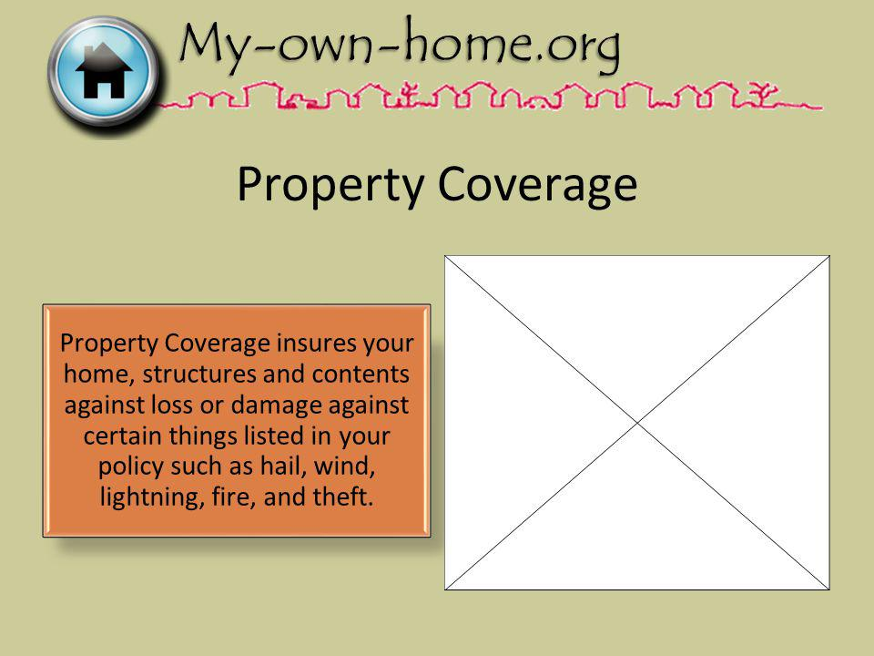 Property Coverage Property Coverage insures your home, structures and contents against loss or damage against certain things listed in your policy such as hail, wind, lightning, fire, and theft.
