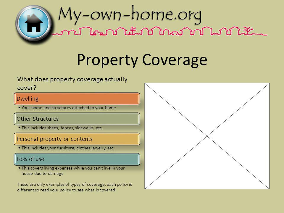 Property Coverage Dwelling Your home and structures attached to your home Other Structures This includes sheds, fences, sidewalks, etc.