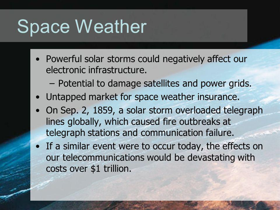 Space Weather Powerful solar storms could negatively affect our electronic infrastructure.