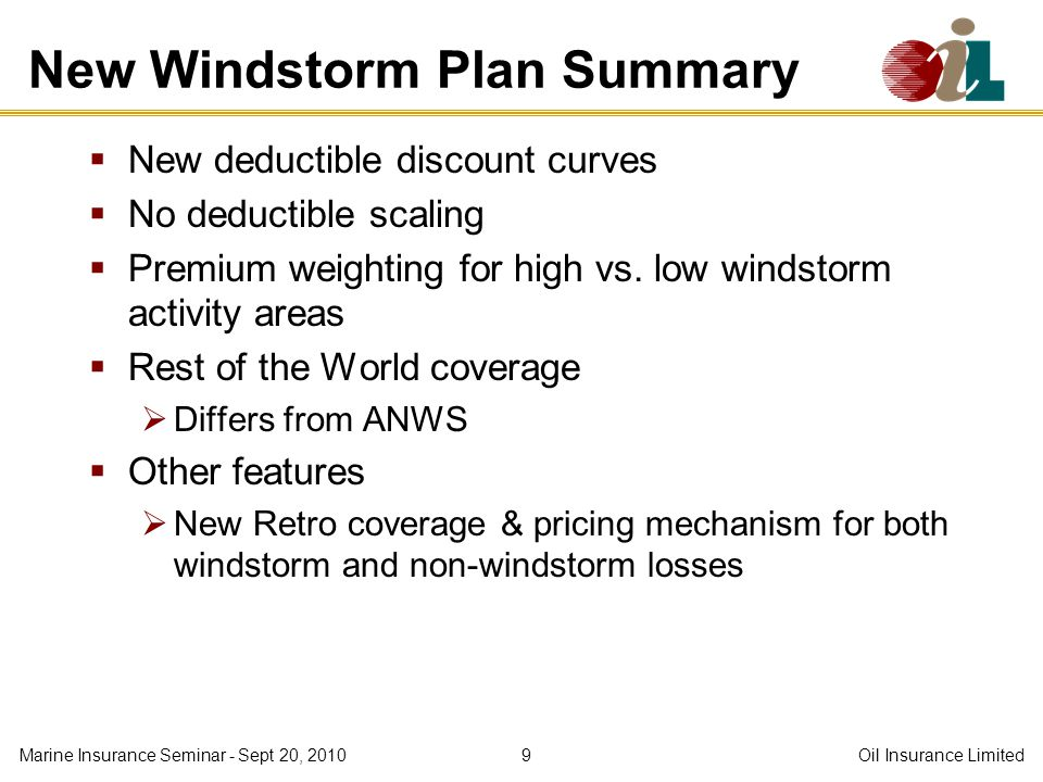 New Windstorm Plan Summary New deductible discount curves No deductible scaling Premium weighting for high vs.