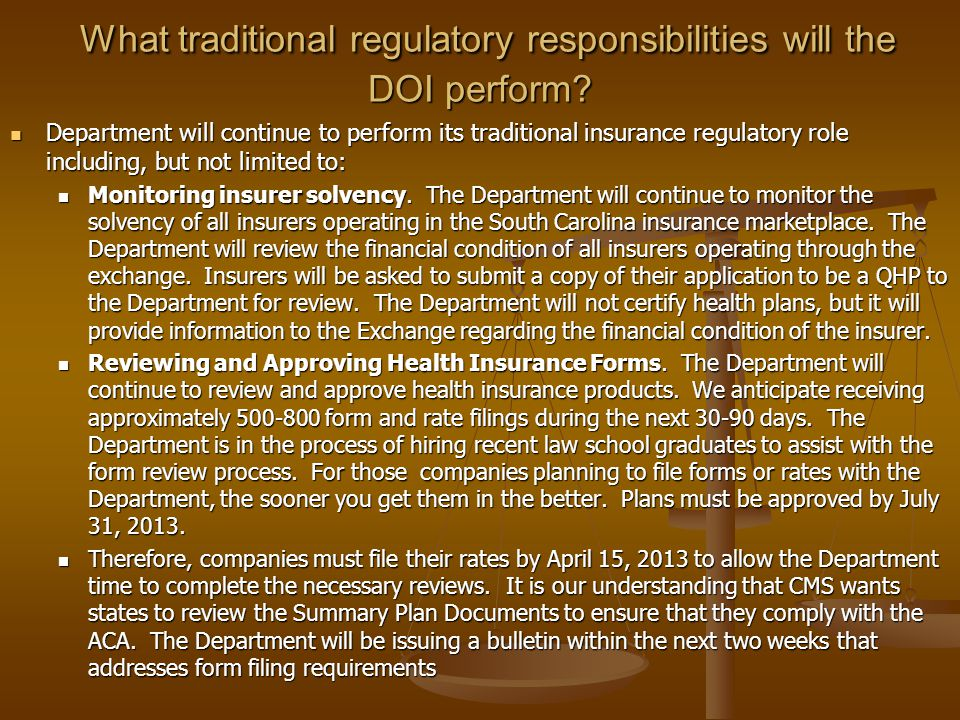 What traditional regulatory responsibilities will the DOI perform.