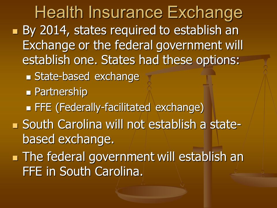 Health Insurance Exchange By 2014, states required to establish an Exchange or the federal government will establish one.