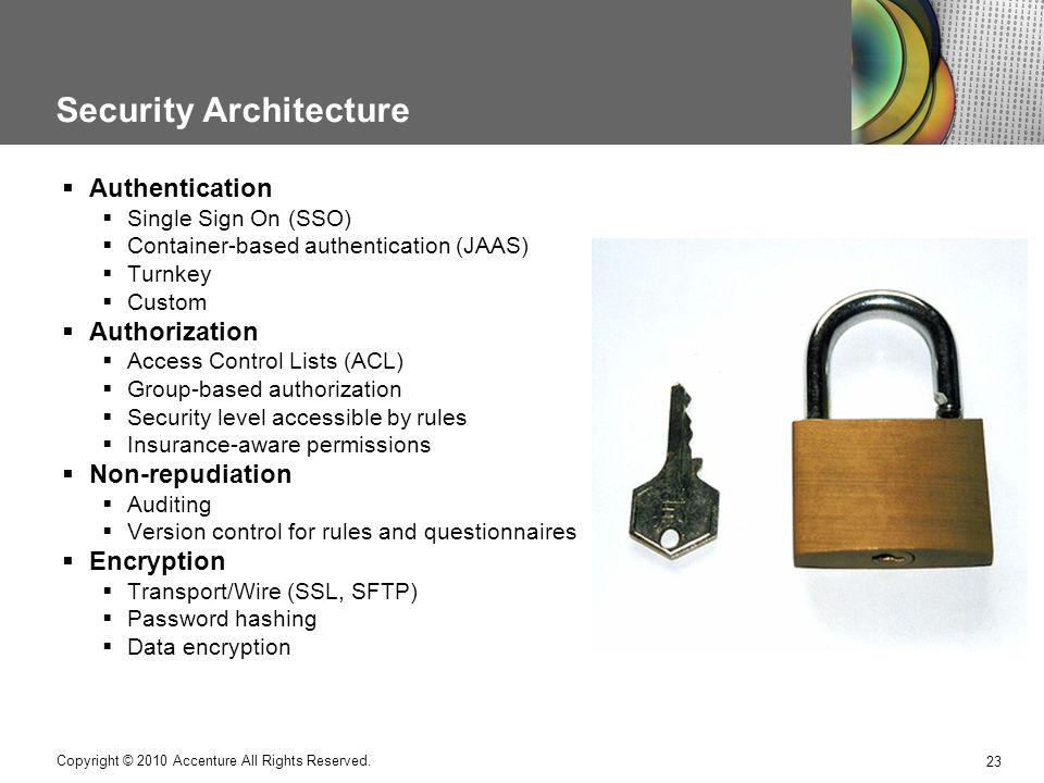 Security Architecture 23 Copyright © 2010 Accenture All Rights Reserved. Authentication Single Sign On (SSO) Container-based authentication (JAAS) Tur