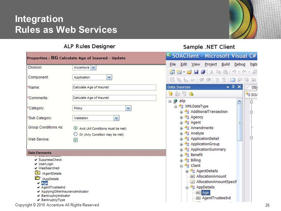 Integration Rules as Web Services 26 Copyright © 2010 Accenture All Rights Reserved.