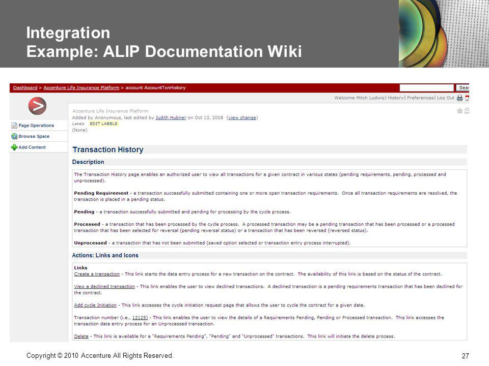 Integration Example: ALIP Documentation Wiki 27 Copyright © 2010 Accenture All Rights Reserved.