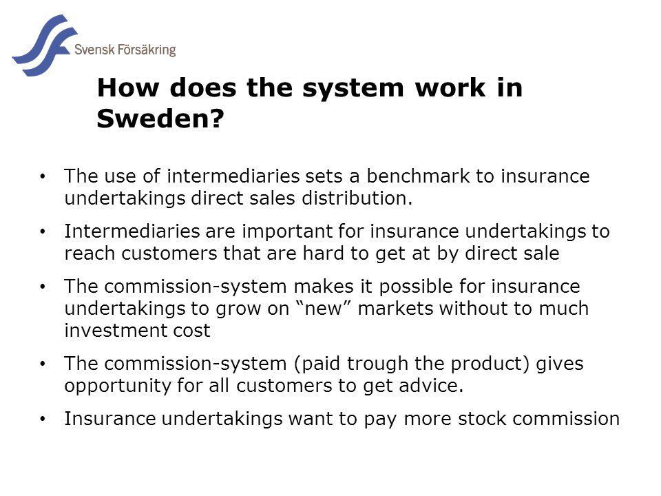 En del av svensk Försäkring i samverkan How does the system work in Sweden? The use of intermediaries sets a benchmark to insurance undertakings direc