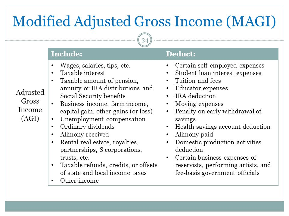 Modified Adjusted Gross Income (MAGI) 34 Include:Deduct: Wages, salaries, tips, etc. Taxable interest Taxable amount of pension, annuity or IRA distri