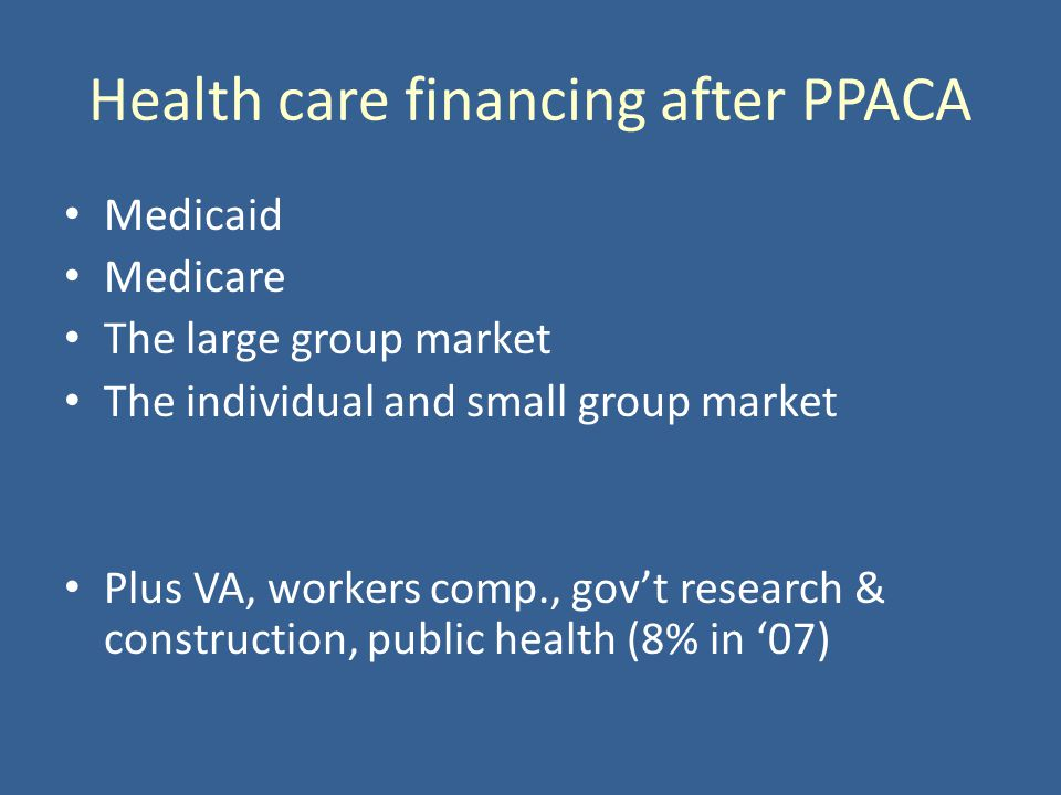 Health care financing after PPACA Medicaid Medicare The large group market The individual and small group market Plus VA, workers comp., govt research & construction, public health (8% in 07)