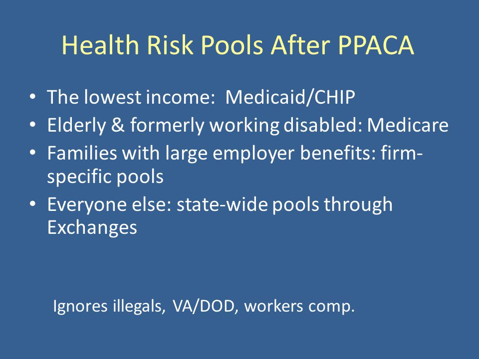 Health Risk Pools After PPACA The lowest income: Medicaid/CHIP Elderly & formerly working disabled: Medicare Families with large employer benefits: fi