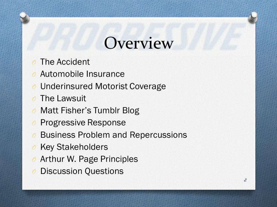 Overview O The Accident O Automobile Insurance O Underinsured Motorist Coverage O The Lawsuit O Matt Fishers Tumblr Blog O Progressive Response O Busi