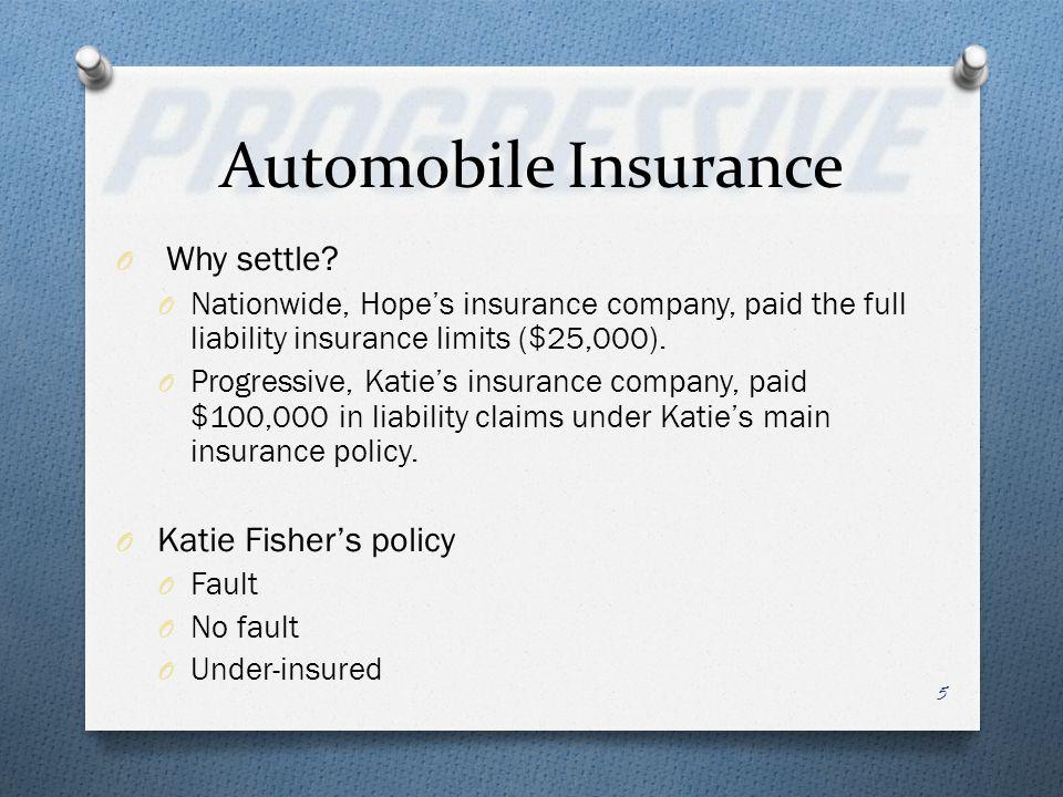 Automobile Insurance O Why settle? O Nationwide, Hopes insurance company, paid the full liability insurance limits ($25,000). O Progressive, Katies in