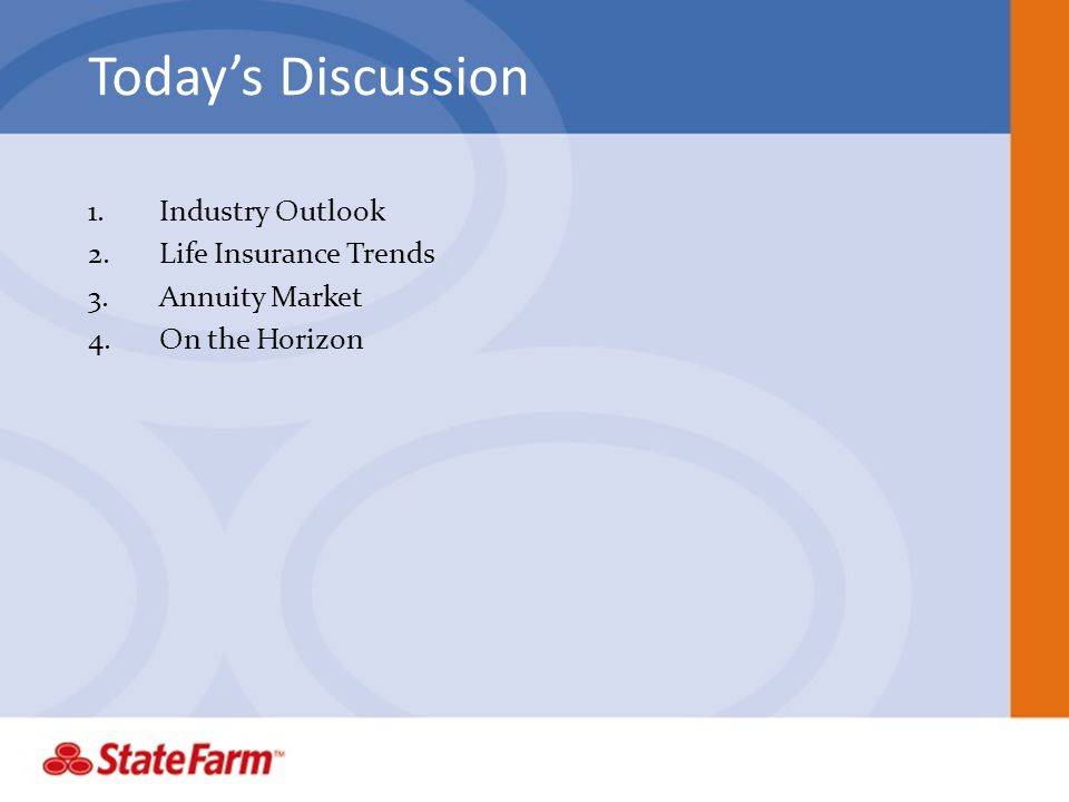 Todays Discussion 1.Industry Outlook 2.Life Insurance Trends 3.Annuity Market 4.On the Horizon