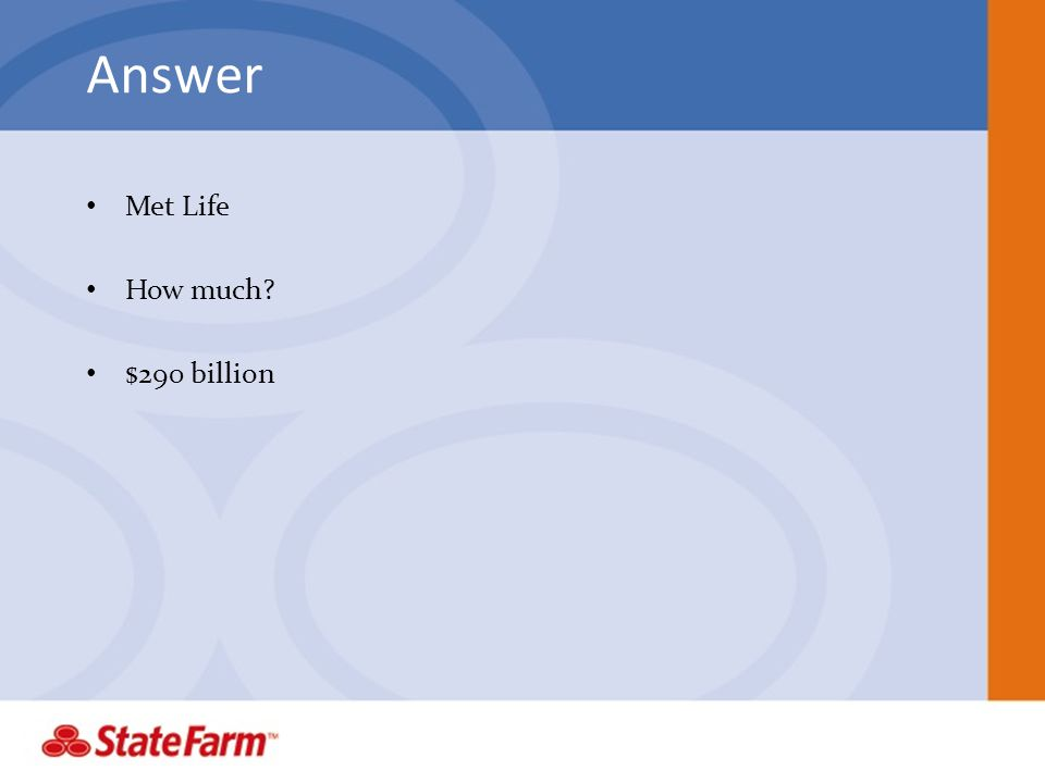 Answer Met Life How much? $290 billion