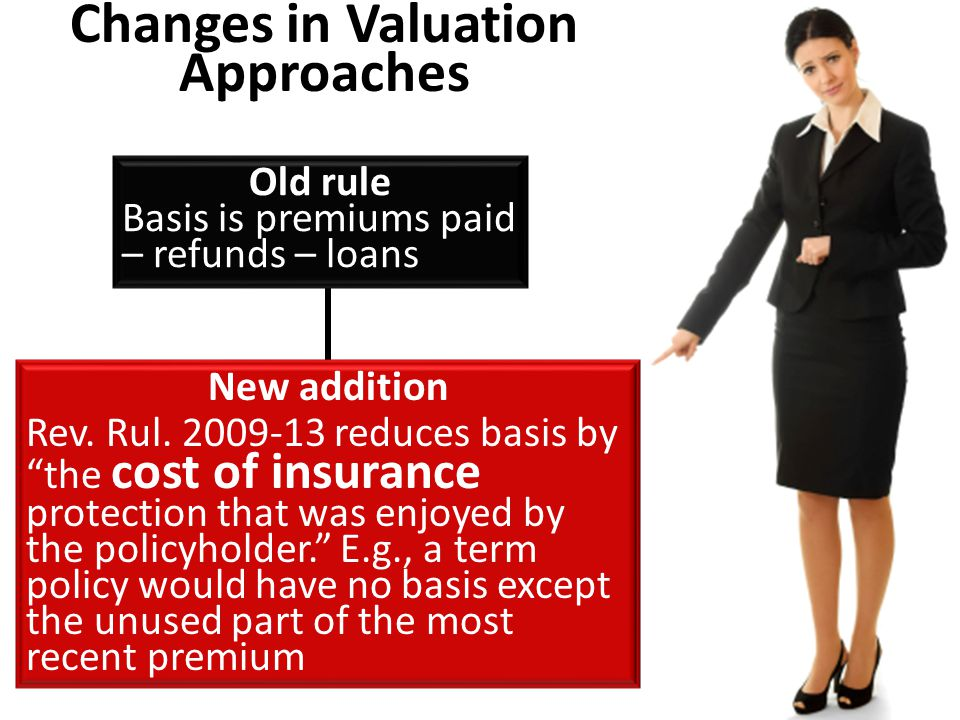 Changes in Valuation Approaches Old rule Basis is premiums paid – refunds – loans New addition Rev.